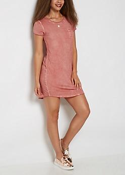 Pink Vintage Washed T Shirt Dress