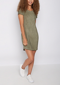 Olive Vintage Washed T Shirt Dress