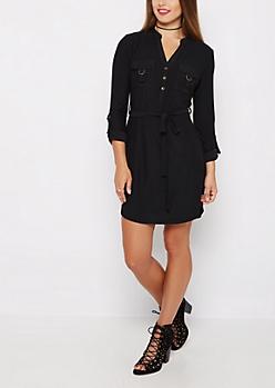 Black Soft Knit Shirt Dress
