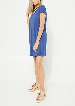 Blue Vintage Wash Cage Strap T Shirt Dress
