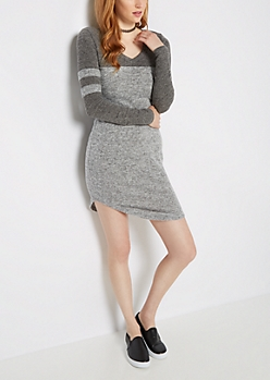 Marled Soft Knit Varsity Dress