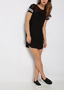 Black Mesh Striped T Shirt Dress