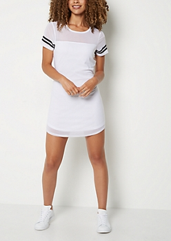 White Mesh Striped T Shirt Dress