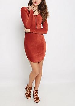 Burnt Orange Corduroy Dress & Lariat Necklace
