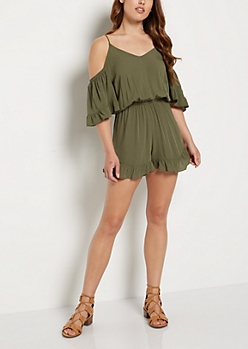 Olive Ruffled Cold Shoulder Romper