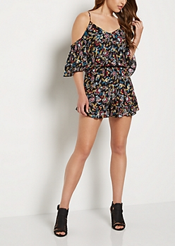 Folklore Ruffled Cold Shoulder Romper