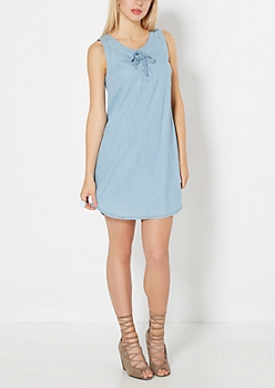 Laced Yoke Chambray Shift Dress