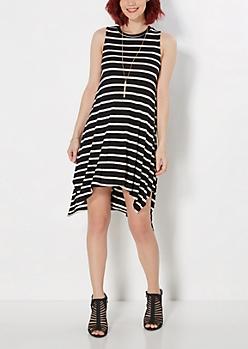 Black Striped Hanky Knit Dress