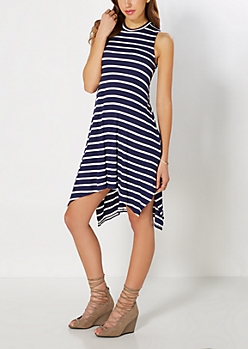 Navy Striped Hanky Knit Dress