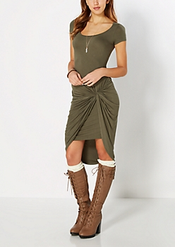 Olive Green Knotted Knit Dress