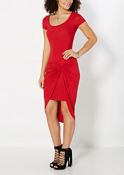 Red Knotted Knit Dress