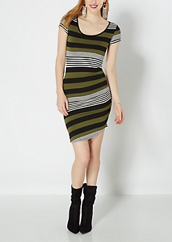 Olive Green Mixed Stripe Ruched Dress