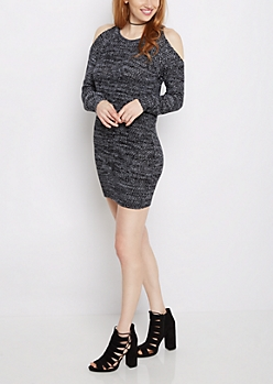 Black Marled Cold Shoulder Sweater Dress