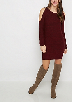 Burgundy Marled Cold Shoulder Sweater Dress