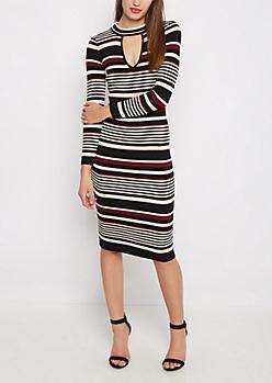 Pink Striped Keyhole Bodycon Dress