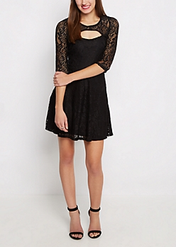 Black Lace Keyhole Skater Dress