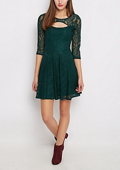 Green Lace Keyhole Skater Dress