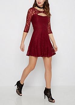 Burgundy Lace Keyhole Skater Dress