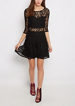 Lace Sweetheart Illusion Skater Dress