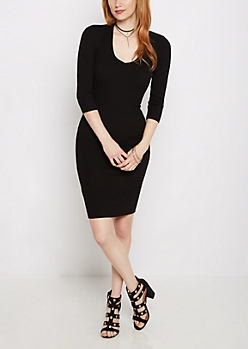 Black Cutout Back Ribbed Sweater Dress