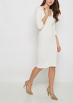 White Cutout Back Ribbed Sweater Dress