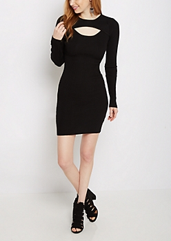 Black Cut-Out Rib Knit Bodycon Dress