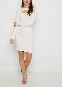 Ivory Cut-Out Rib Knit Bodycon Dress
