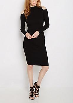 Black Cold Shoulder Ribbed Sweater Dress