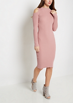 Pink Cold Shoulder Ribbed Sweater Dress
