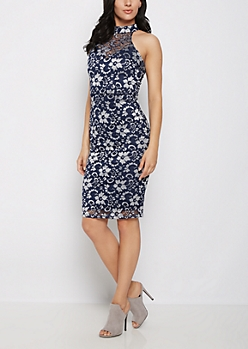 Navy Lace High Neck Dress