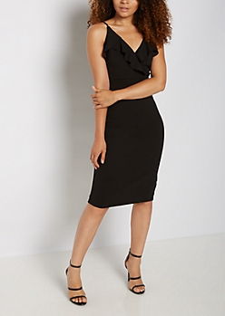 Ruffled Surplice Bodycon Dress