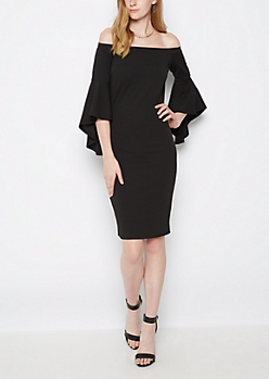 Black Bell Sleeve Off Shoulder Dress