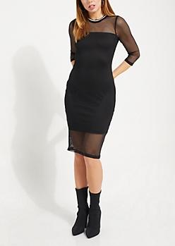 Mesh Varsity Bodycon Dress