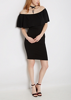 Black Ruffled Off-Shoulder Dress