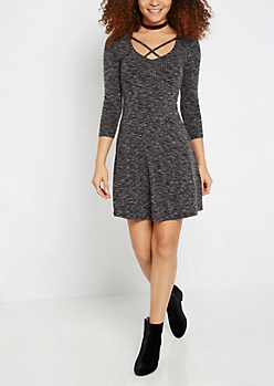 Black Marled Crossed V-Neck Skater Dress