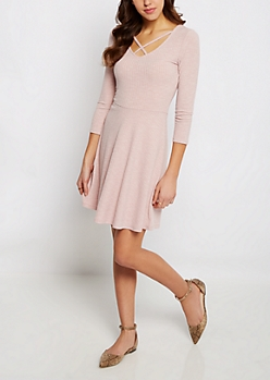 Pink Marled Crossed V-Neck Skater Dress