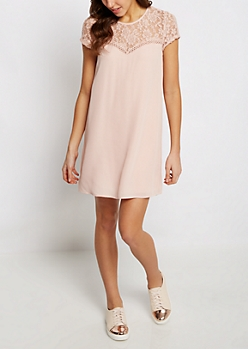 Pink Rose Laced Shift Dress