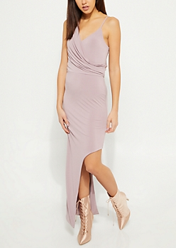 Lavender Draped Asymmetrical Maxi Dress