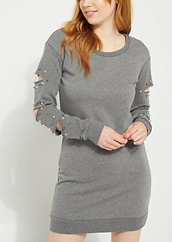 Spliced Sleeve Pearled Gray Sweatshirt Dress
