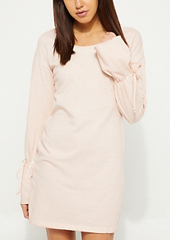 Ruched Sleeves Sweatshirt Dress