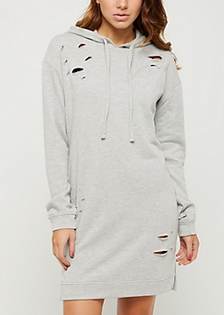 Heather Gray Slashed Tunic Hoodie