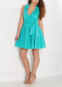 Light Green Dotted Surplice Skater Dress