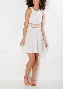 White Illusion Waist Crochet Skater Dress