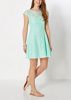 Mint Geo Crochet Skater Dress