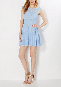 Light Blue Geo Crochet Skater Dress