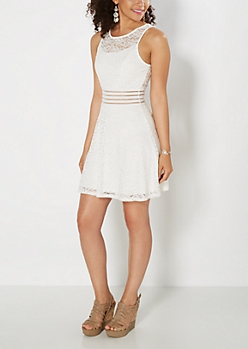 White Illusion Waist Lace Skater Dress