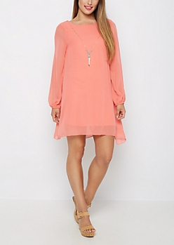 Coral Tribal Arrow Necklace Shift Dress