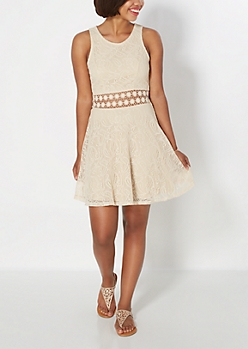 Boho Swirl Illusionist Skater Dress