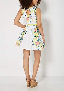 Yellow Flower Trail Belted Sundress