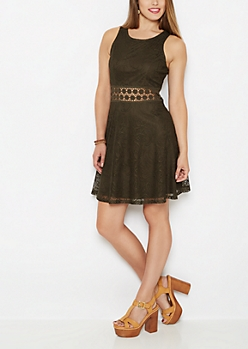 Olive Boho Swirl Illusion Skater Dress